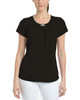 Front Pleated Metal Trim Top~Black*MITU2724