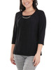3/4 Sleeve Front Pleated Top with Hardware Trim~Black*MITU7075