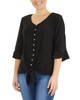 Petite 3/4 Bell Sleeve V Neck Tie Front Top~Black*PITB0344
