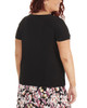 Plus Size Pleated Front Short Sleeve Top with Hardware Trim~Black*WITU2724