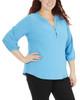 Plus Size 3/4 Sleeve Y Neck Mandain Collar Top~Blue Colorstripe*WNKU2021