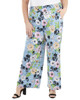 Plus Size Smocked Waistband Pants~Blue Fleurissimo*WITP0735
