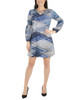 Petite Long Sleeve V Neck Lattice Dress~Blue Junjinight*PHAD0034