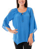Lace Front Tie Neck Sharkbite Hem Top~Blue*MRJU0534