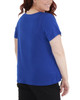Plus Size Pleated Front Short Sleeve Top with Hardware Trim~Deep Blue*WITU7021