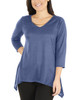 Metal Neckline Sharkbite Hem Top~Denim*MHAU0399