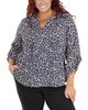 Plus Size 3/4 Sleeve Y Neck Front Pleated Top~Eclipse Conchas*WRJU0555