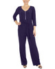 Petite 3/4 Sleeve Zipper Front Jumpsuit~Eclipse*PITU6846