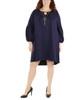 Plus Size Long Sleeve Scoop Neck High-Low Dress~Eclipse*WNKD0442