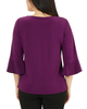 Petite 3/4 Bell Sleeve V Neck Tie Front Top~Eggplant*PITB0344