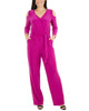 Petite 3/4 Sleeve Cold Shoulder Jumpsuit~Forward Fuschsia*PITU6848