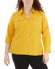 Plus Size 3/4 Roll Tab Sleeve Button Down Blouse~Golden Glow*WCDB0416