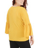 Plus Size Long Bell Sleeve Metal Ring Top~Golden Glow*WITU6820