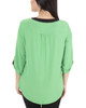 Petite 3/4 Sleeve Y Neck Top~Green Mixchelsea*PITU6821