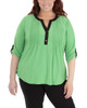 Plus Size Color Block Roll Tab Top~Green Mixchelsea*WITU6821
