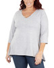 Plus Size 3/4 Sleeve V Neck Top With Sharkbite Hem~Grey*WHAU0399