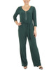 Petite 3/4 Sleeve Zipper Front Jumpsuit~Hunter*PITU6846