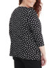 Plus Size 3/4 Sleeve Front Pleated Top with Hardware Trim~Jet Morespots*WITU7074