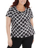 Plus Size Pleated Front Short Sleeve Top with Hardware Trim~Jet Palermoplad*WITU6993