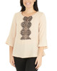 3/4 Sleeve Peplum Top with Lace Trim~Moonlight*MDOU1851