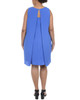 Plus Size Sleeveless Open Back Dress with Necklace~Nautical Blue*WCRD0079