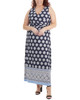 Plus Size Wrap Front Maxi Dress with Hardware Belt Trim~Navy Moroccowall*WITD3766
