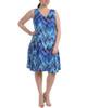 Plus Size Sleeveless V Neck Godet Dress with Necklace~Navy Nebular*WITD3473