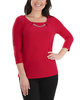 3/4 Sleeve Front Pleated Top with Hardware Trim~Red Mercury*MITU7075