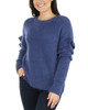 Ruffle Sleeve Drop Shoulder Crew Neck Pullover~Rose Bouquet*MSVU1483