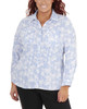 Plus Size 3/4 Sleeve Y Neck Allover Print Top~Sky Dotechball*WSTB1346
