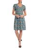 Petite Cap Sleeve Scoop Neck Pleated Dress~Tan Scaleskin*PITD3468