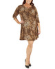 Plus Size 3/4 Sleeve Round Neck Dress~Tawny Leospots*WITD3678