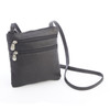 Colombian Leather Double Zip Crossbody Bag~627-VL