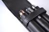 ROYCE 3 Slot Triple Fountain Pen Case in Genuine Leather~912-BLACK-6