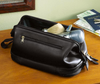 ROYCE Executive Toiletry Travel Wash Bag in Genuine Leather with Zippered Bottom Compartment~260-3