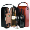 ROYCE Luxury Suede Lined Double Wine Carrying Case in Genuine Leather with Stainless Steel Corkscrew~622-6