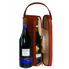 ROYCE Luxury Suede Lined Single Wine Carrying Case in Genuine Leather with Stainless Steel Corkscrew~621-6