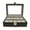 ROYCE Luxury Ten Slot Watch Box Handcrafted in Genuine Leather~960-BLACK-6