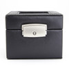 ROYCE Luxury Two Slot Watch Box Display Case Handcrafted in Genuine Leather~961-BLACK-6