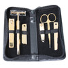 ROYCE Travel and Grooming Manicure Kit in Genuine Leather with Stainless Steel Implements~552-BLACK-6