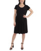 Cap Sleeve Allover Pleated Dress~Black*MITD3903