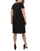 Plus Size Cap Sleeve Allover Pleated Dress~Black*WITD3903
