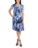 Cap Sleeve Allover Pleated Dress~Blue Brushwind*MITD3908
