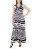 Beaded V Neck Knot Front Maxi Dress~Jet Zebrabrush*MITD3543