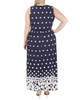 Plus Size Sleeveless V Neck Maxi Dress~Navy Dotfall*WITD3905