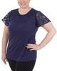 Lace Flutter Sleeve Crochet Trim Top~Navy Mariajose*MKPU0831