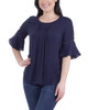Pleated Bell Sleeve Crochet Trim Top~Navy Mixcombo*MRJU0678
