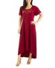 Flutter Sleeve Hardware Trim Maxi Dress~Rhubarb*MITD3600