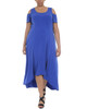 Plus Size Cold Shoulder High-Low Maxi Dress~Surf The Web*WITD3467