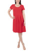 Cap Sleeve Allover Pleated Dress~Tulip Red*MITD3903